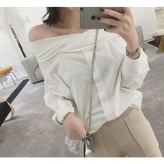 Greek Fold-Over Off Shoulder Blouse