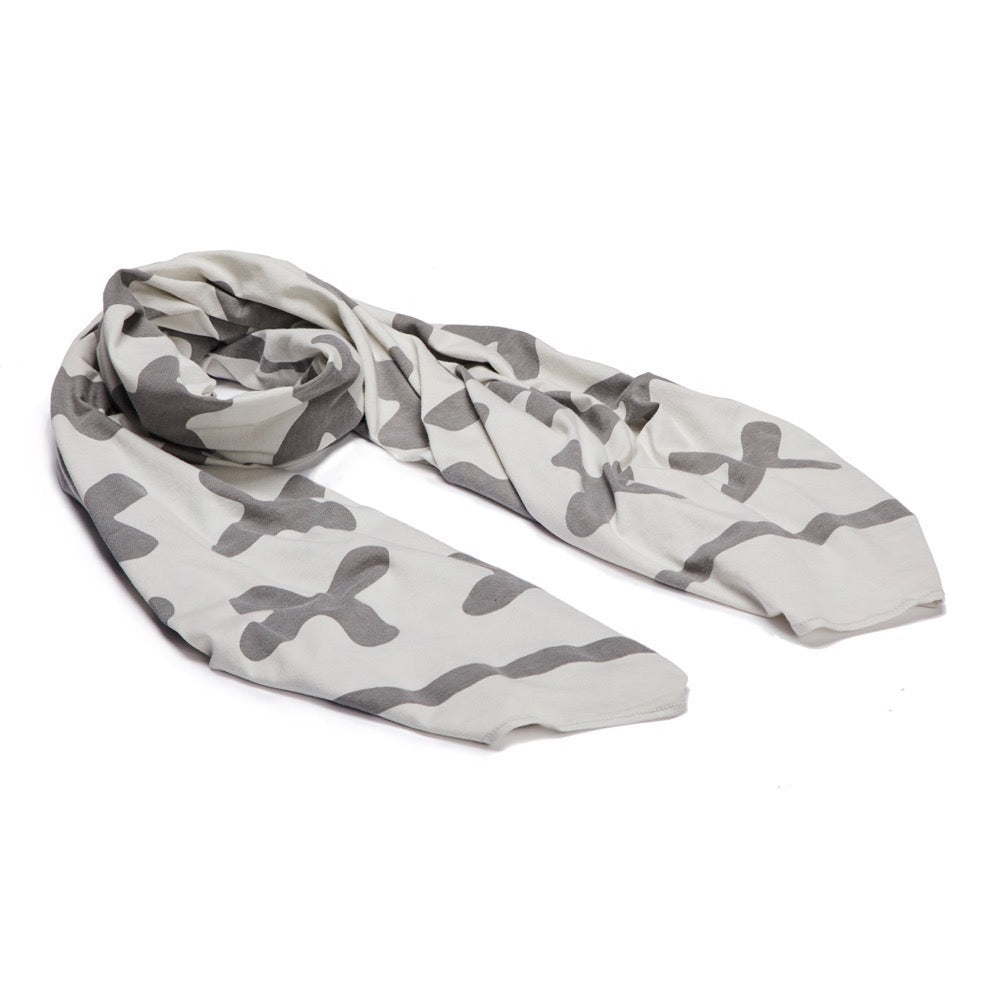 Jersey Wrap Scarf (White & Grey)