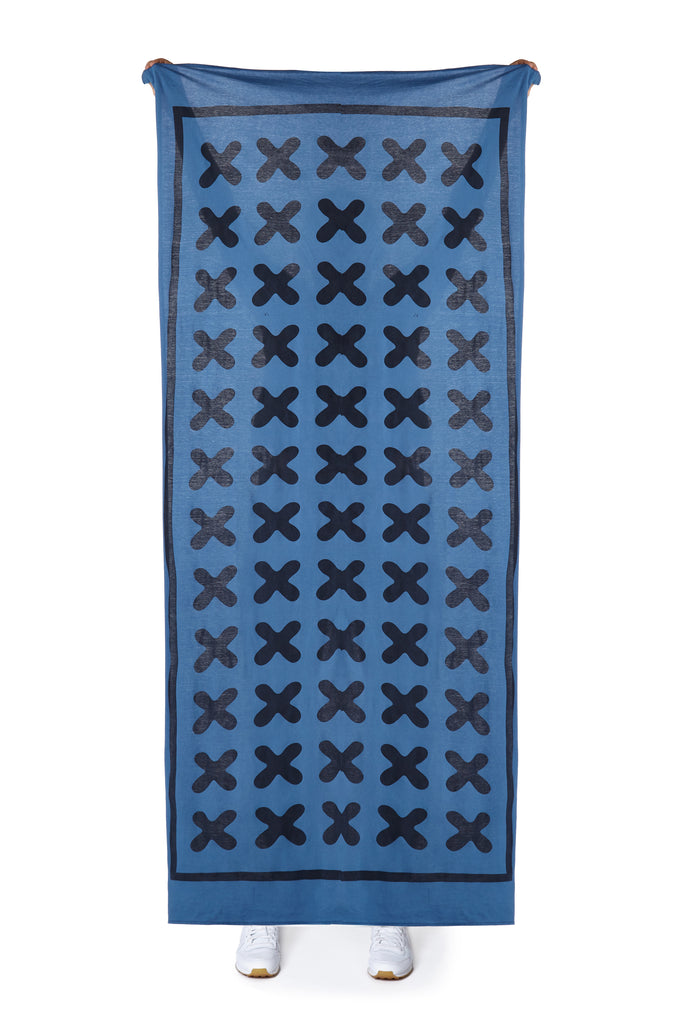 Jersey Wrap Scarf (Blue & Black)