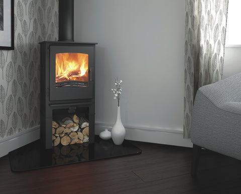 Broseley eVolution Desire 5 Stove with log store |Broseley eVolution Desire 5 poêle à bois avec compartiment à bûches