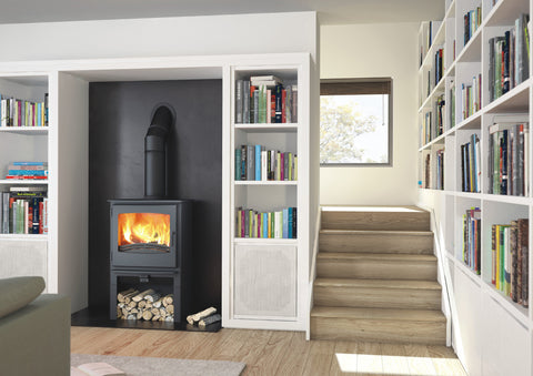 Broseley eVolution Desire 7 Stove with log store |Broseley eVolution Desire 7 poêle à bois avec compartiment à bûches