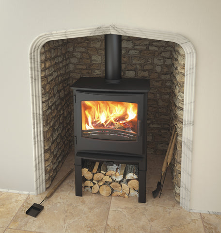 Broseley eVolution Ignite 7 Stove with log store  |Broseley eVolution Ignite 7 poêle à bois avec compartiment à bûches
