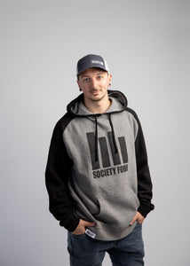 Men's Raglan Hoodie - Icon Logo - Grey & Black