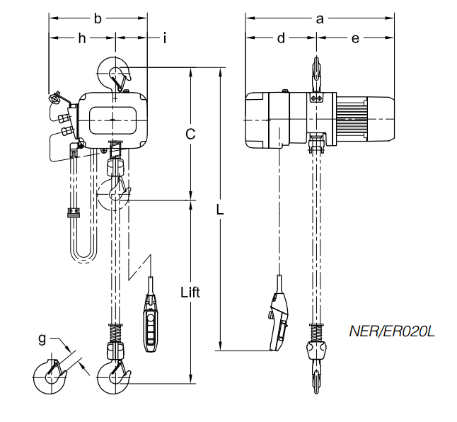 Harrington NER Hoist Drawing