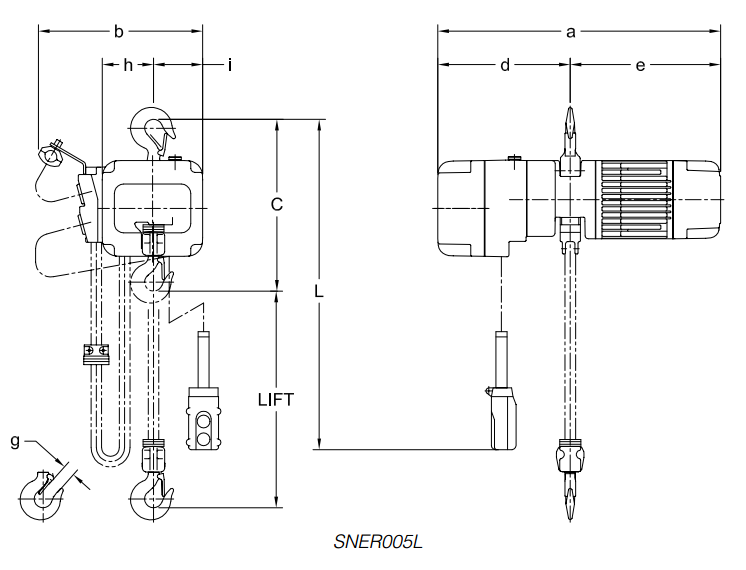 Harrington SNER Hoist Drawing