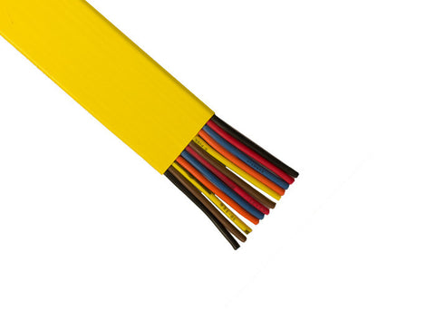 Flat PVC Cable 10 AWG, 4 Conductor, Yellow, 1 Ft.