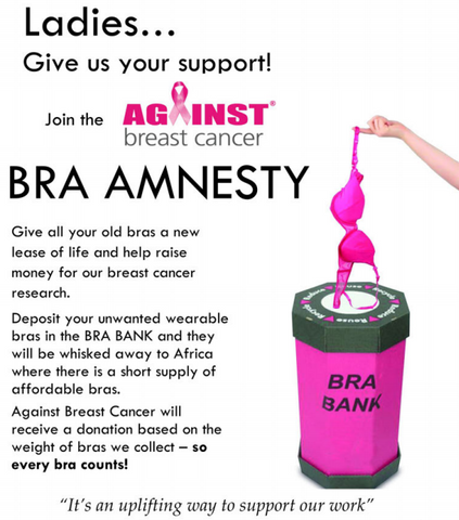 Against Breast Cancer Bra Recycle Bank | Box of Gorgeous Glasgow