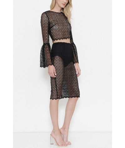Bell Sleeve Lace Set Black
