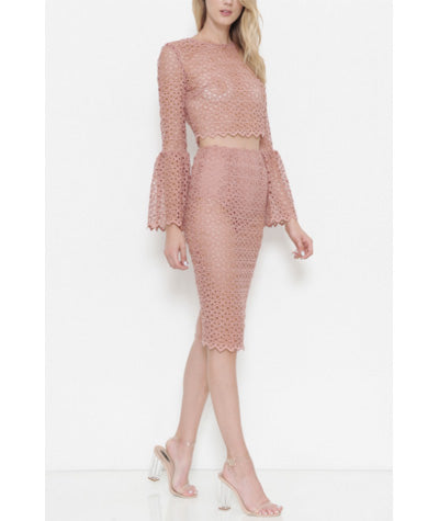 Bell Sleeve Lace Set Blush