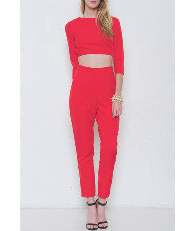 2 Piece Pant Set Red