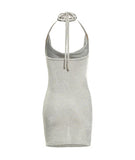 Metallic Cowl Neck Dress