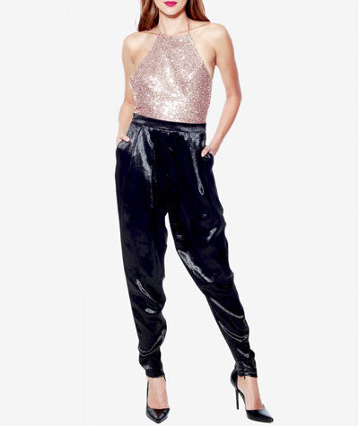 Backless Sequins Jumpsuit Champagne