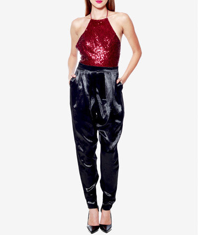 Backless Sequins Jumpsuit Wine