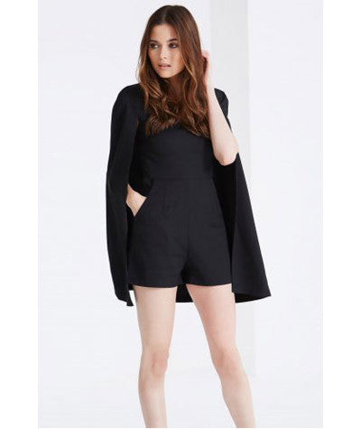 Cape Detail Playsuit Black