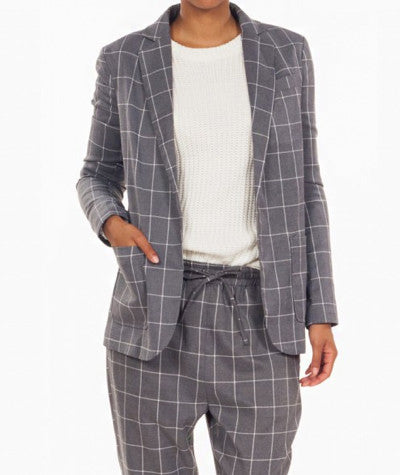 Grid Lined Blazer Gray