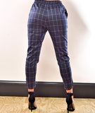 Grid Lined Pants Navy