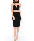 Choker Crop Top and Pencil Skirt Crop Black