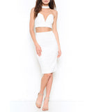 Choker Crop Top and Pencil Skirt Crop White