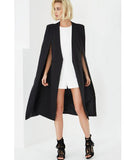 Collarless Cape Coat Black