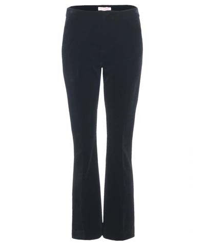 Velvet Flare Trousers Black