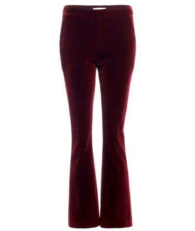Velvet Flare Trousers Burgundy