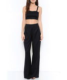 Crop Top and Wide Leg Pants Set Black