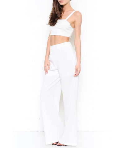 Crop Top and Wide Leg Pants Set White