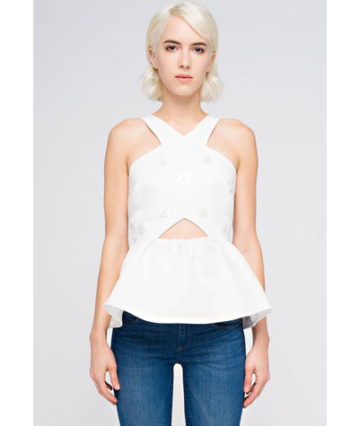 Cross Front Peplum Top White