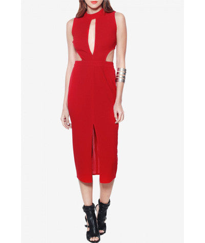 Cut Out Midi Dress Red