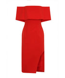 Deep Bandeau Asymmetric Hem Dress Red