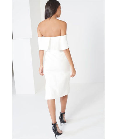 Deep Bandeau Asymmetric Hem Dress White