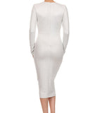 Deep V Bodycon Dress Silver
