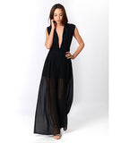 Deep V Sheer Backless Jumpsuit