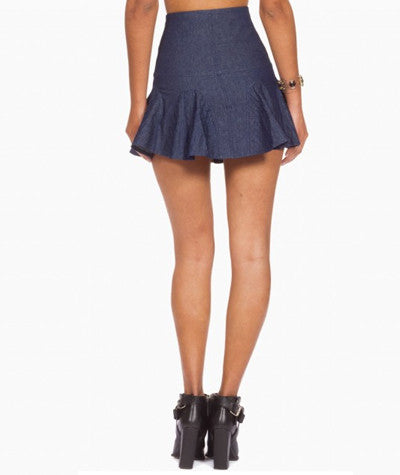Denim Ruffle Skater Skirt