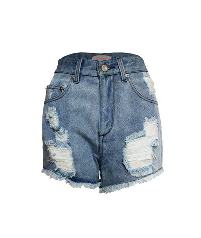 Distressed Denim Shorts Light Denim