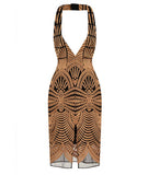 Embroidered Mesh Halterneck Dress Nude/Black