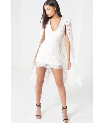 Embroidered Mesh Maxi Cape Mini Dress White