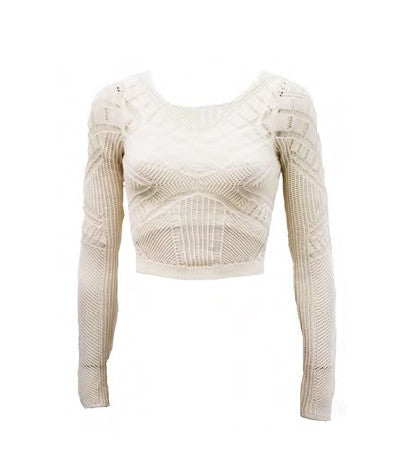 Emerald Eyes Knit Sweater White
