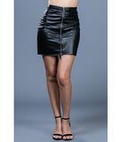 Faux Leather Mini Pencil Skirt w/ Zippers