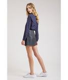 Faux Leather Mini Skirt Black