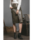 Faux Leather Pencil Skirt Olive