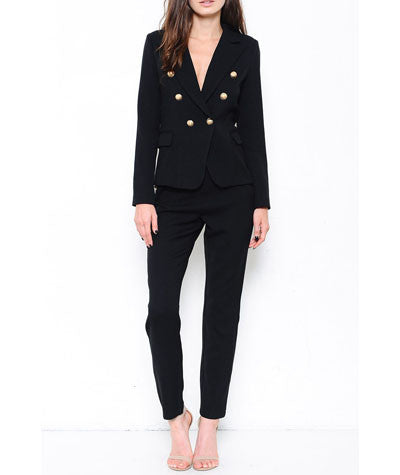Fitted Suit with Gold Buttons