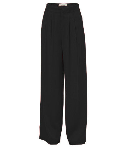 Front Pleated Palazzo Pants Black