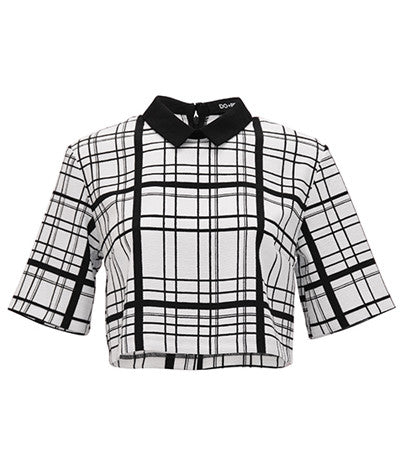 Grid Line Collared Top