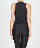 High Neck Pinstriped Bodysuit Black