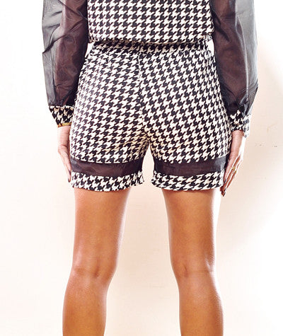 Houndstooth/Mesh Shorts