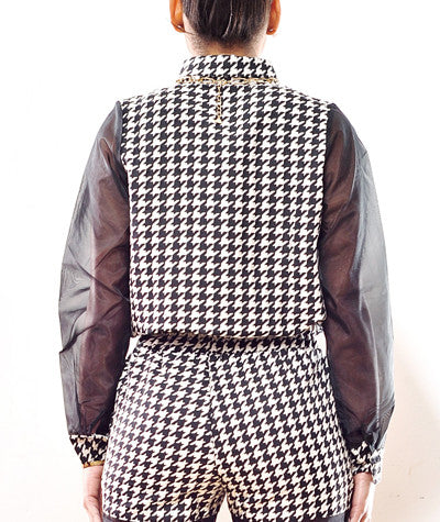 Houndstooth/Mesh Shirt