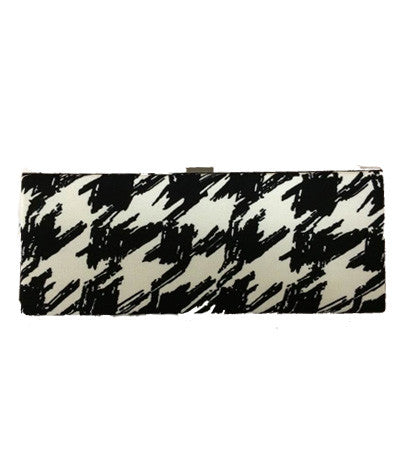 Houndstooth Rectangle Box Clutch