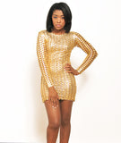 LaQuan Smith 3D Bubble Dress Gold