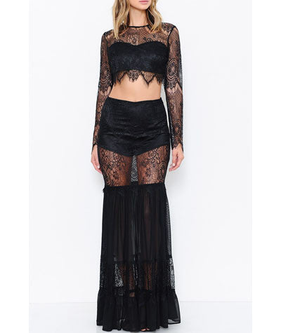 Lace Long Sleeve Crop and Maxi Skirt Set